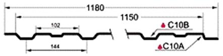 Профиль профнастила C10 размеры