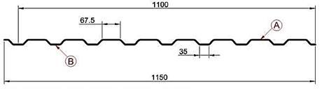 Профиль профнастила С20, МП20 под камень размеры листа